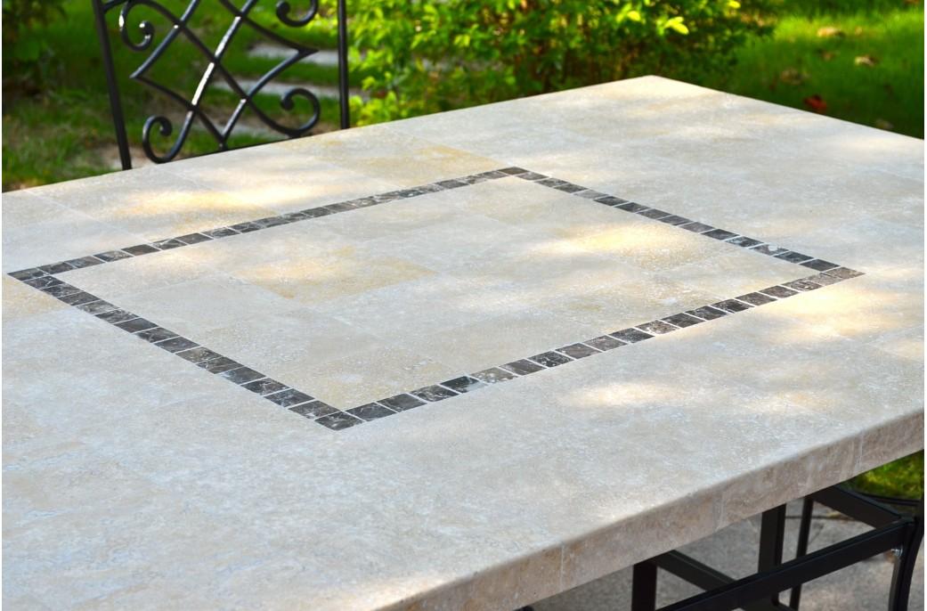 MONTE CARLO Table de jardin 160x100 en mosaque de marbre  Pierre naturelle