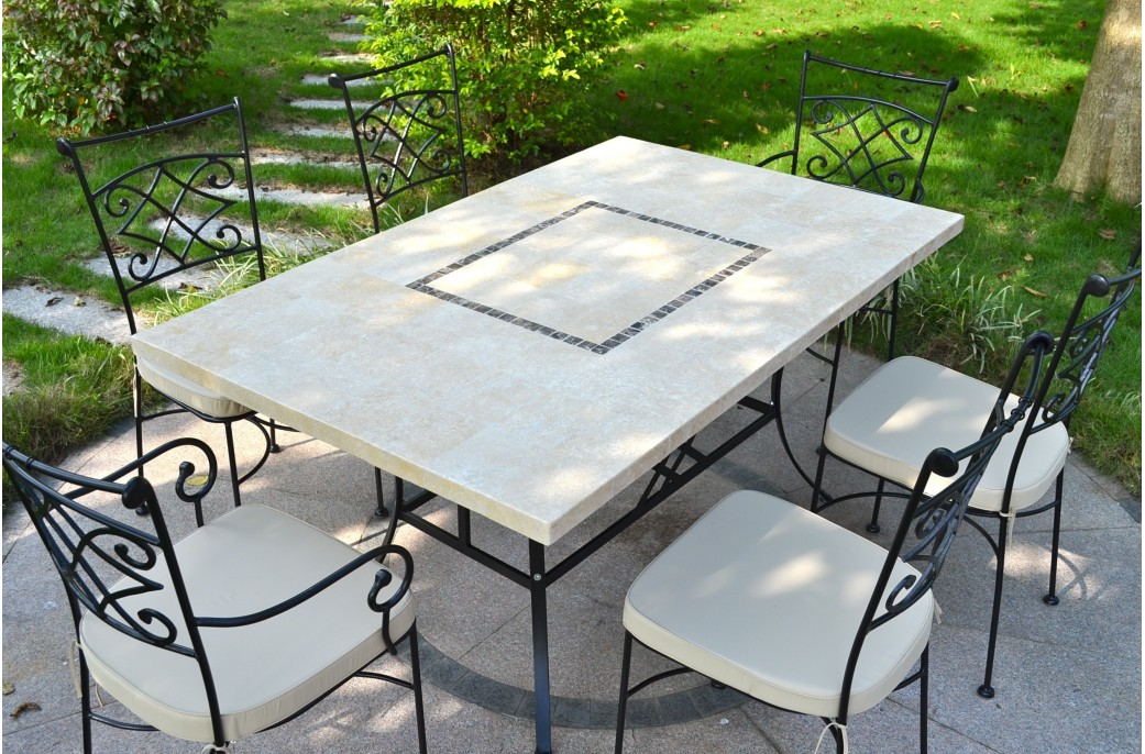 MONTE CARLO Table de jardin 160x100 en mosaque de marbre  Pierre naturelle
