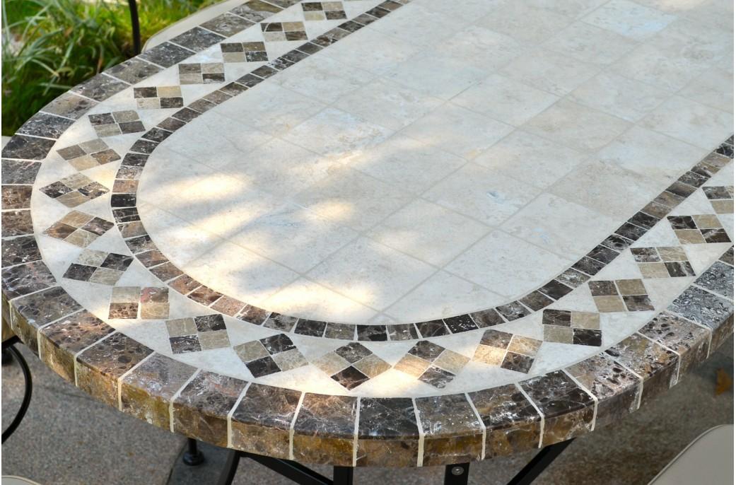 OVALI Table Mosaque De Jardin 240 180 160cm Ovale En
