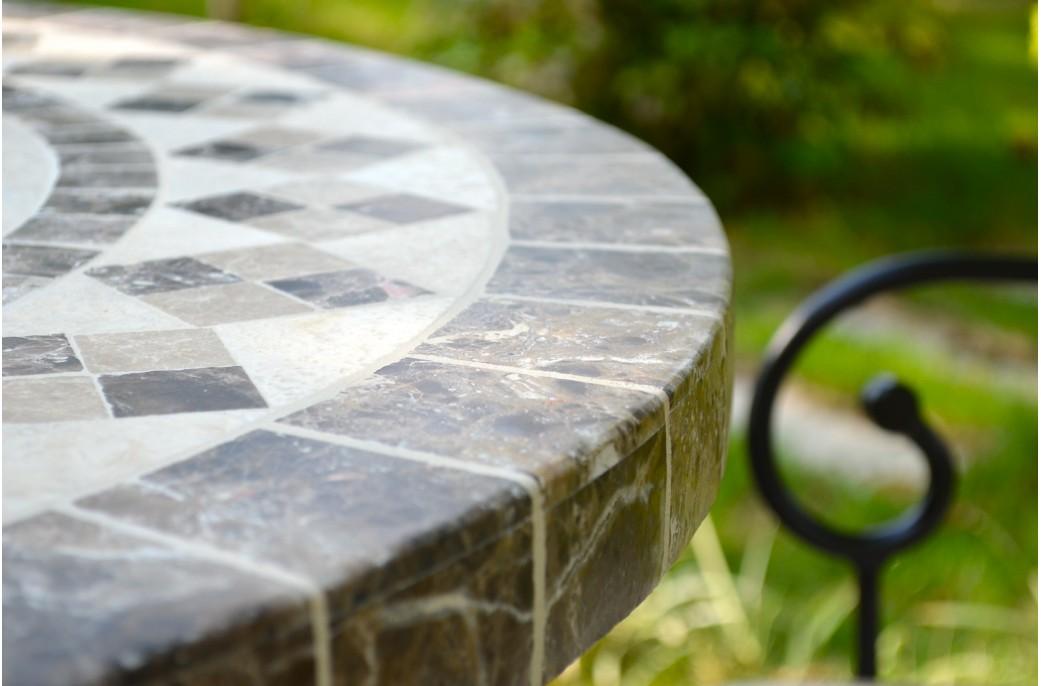 OVALI Table mosaque de jardin 240180160cm ovale en marbre et travertin