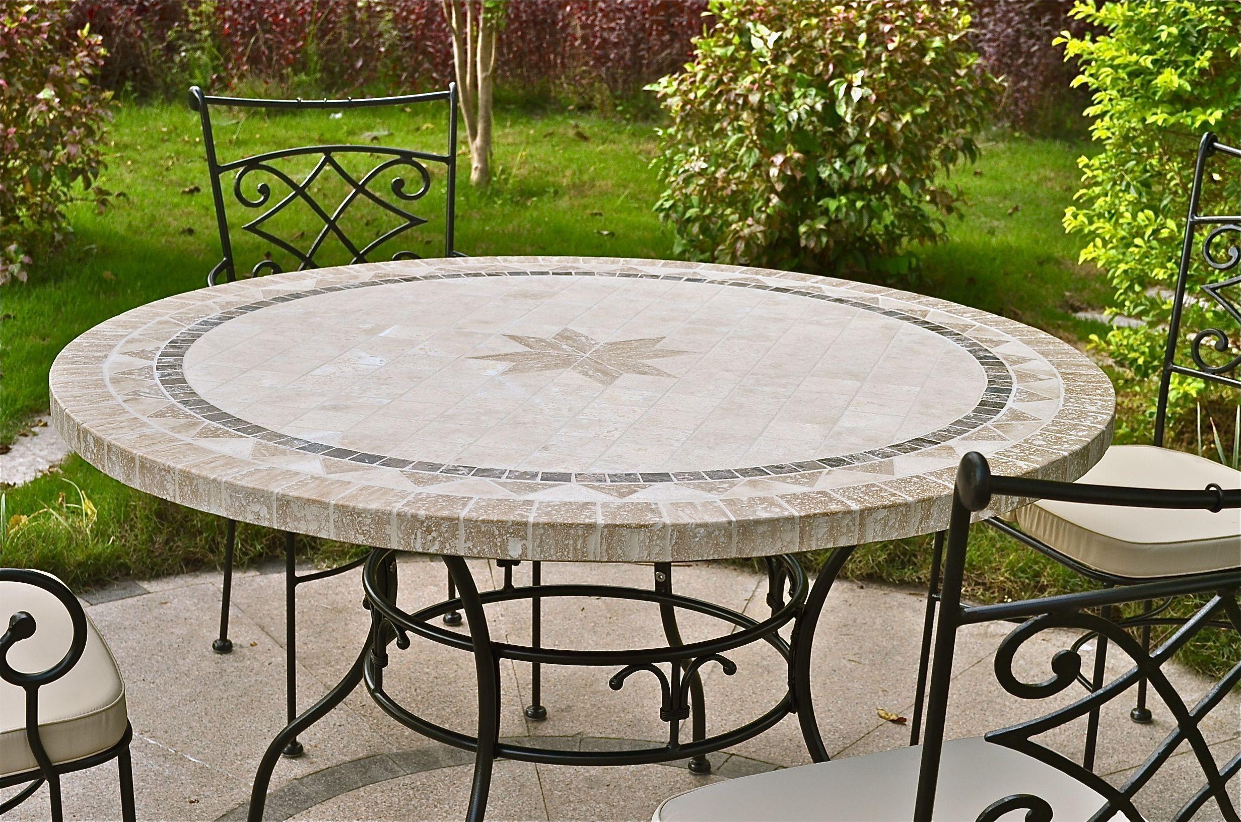 table de jardin ronde pierre mosaique marbre 90 125 160 mexico