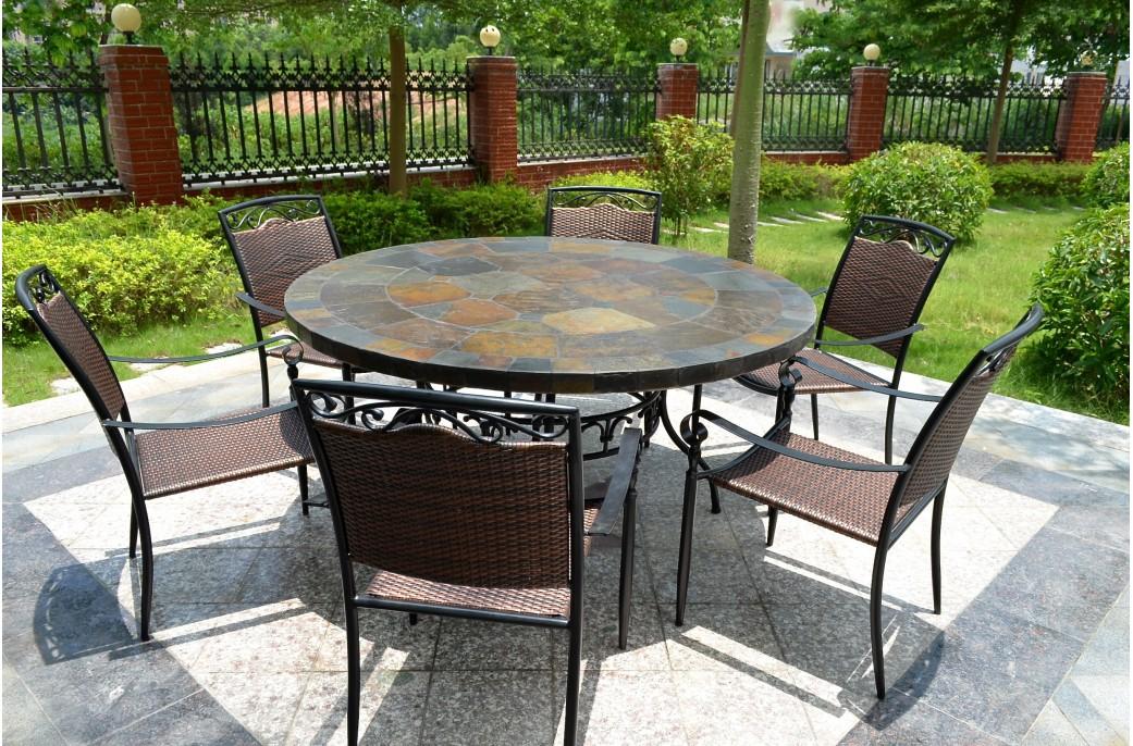 125160 Table de jardin ronde en mosaque dardoise  OCEANE