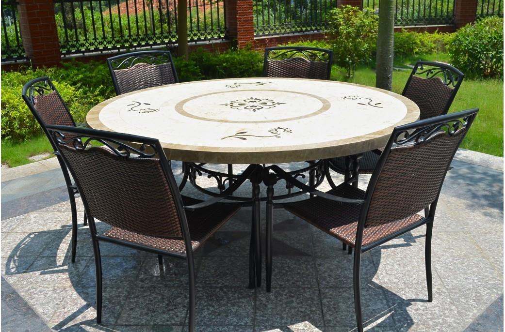 Grande Table 170160 en pierre Mosa marbre ronde LUXOR