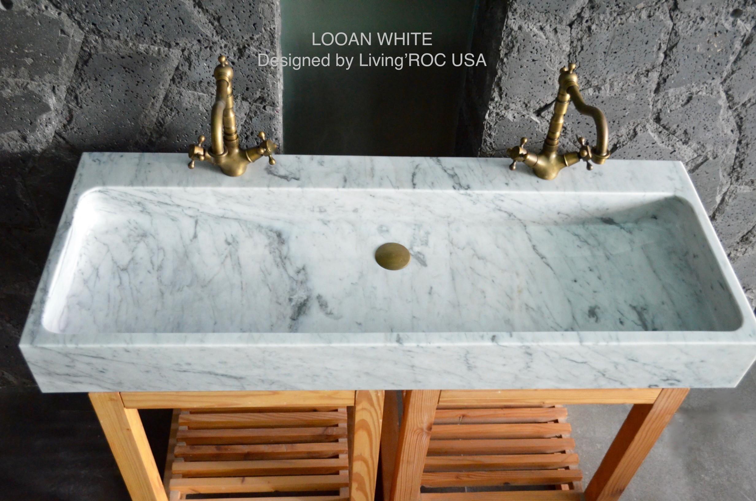 double vasque en marbre de carrare veritable salle de bain estel white