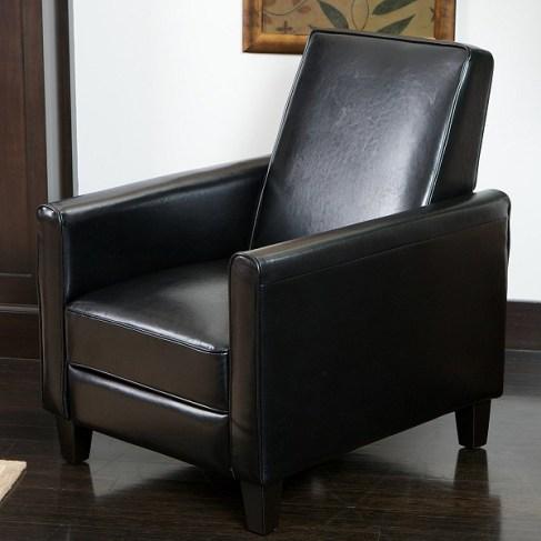 Lucas Black Leather Modern Sleek Recliner Club Chair