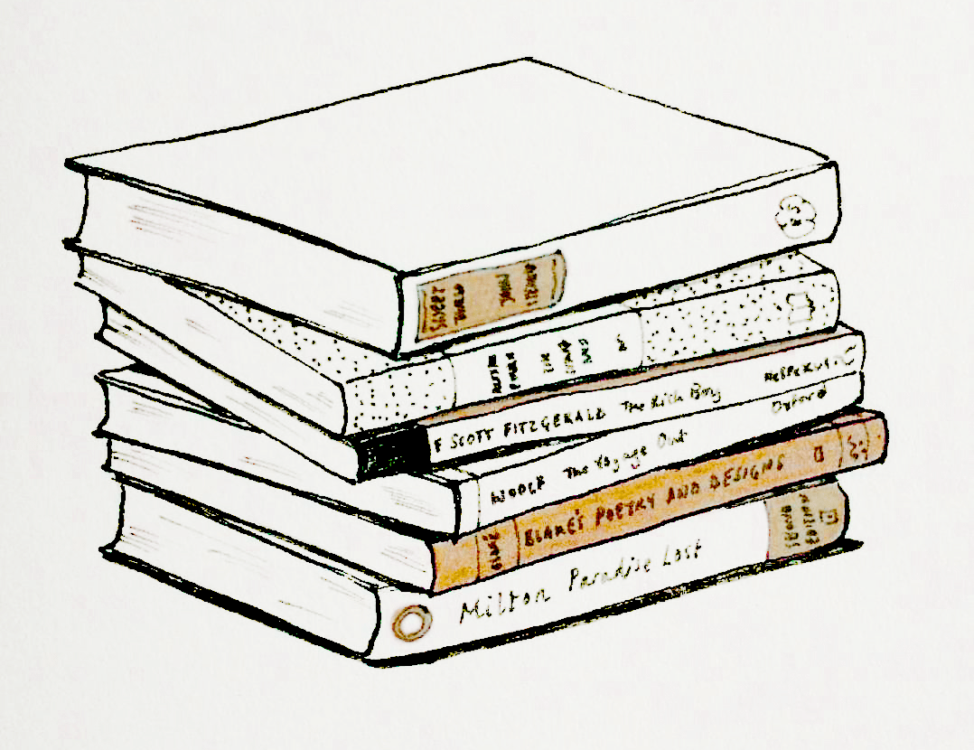 stack of books illustration - living room literature