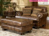 Classic Brown Leather Sofa And Ottoman Ashley Furniture