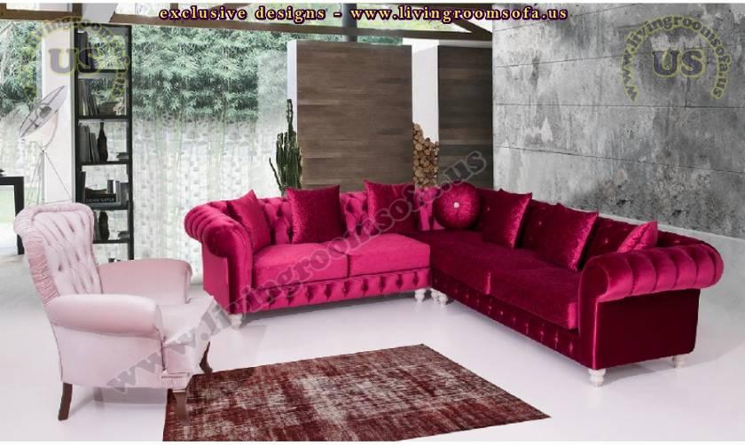 Velvet chesterfield sectional sofa set red white luxury