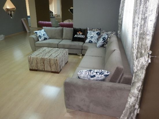 Blue And White Sofa
