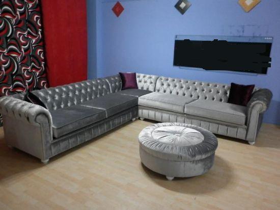 Bright Grey Velvet Chesterfield Corner Sofa L Shaped
