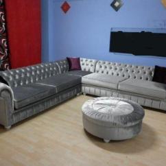 L Shape Sectional Sofa Pillows For Sale Bright Grey Velvet Chesterfield Corner Shaped ...