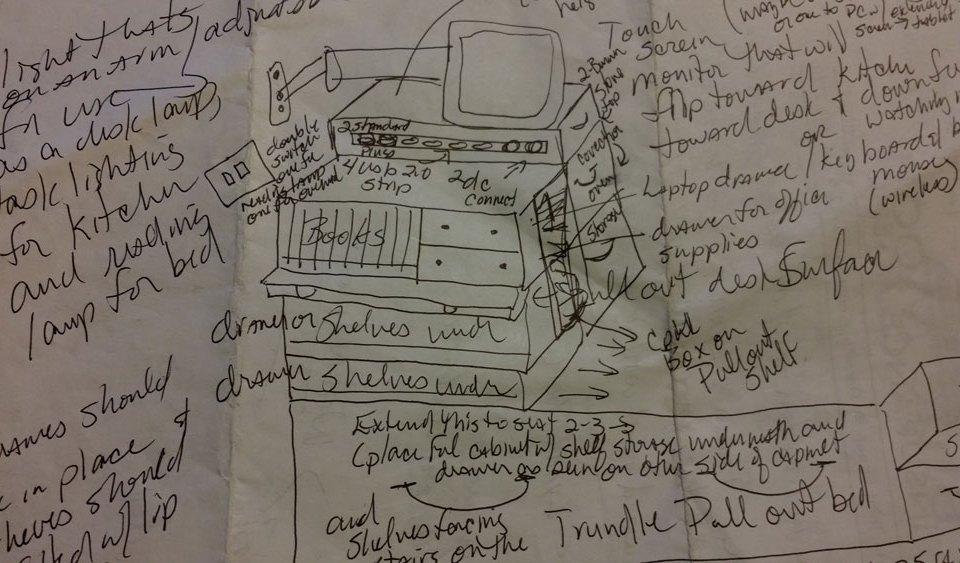 Tiny house desk sketch