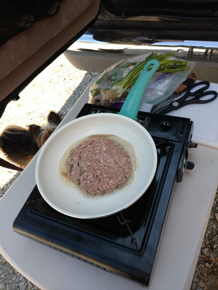 Cooking in the van kitchen