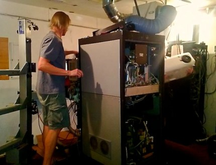 Old film projector at theater being removed.  Photo: North Bend Theatre Facebook page
