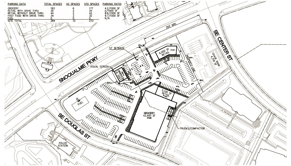 Large Grocery Store Retail Development in Snoqualmie Ridge