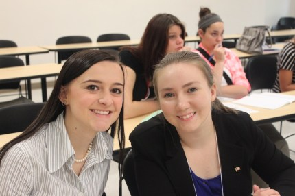 Kenzington Dupree, left, at Girls State in June 2016.
