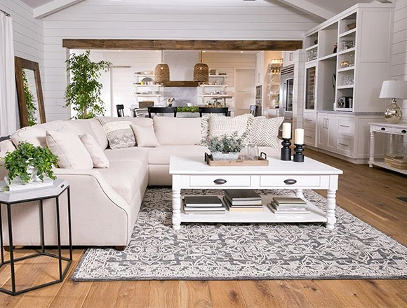 ideas for furniture in living room sample designs decor spaces country rustic dining with magnolia home homestead sofa