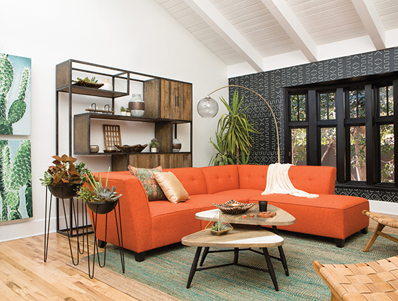 orange living room designs interior paint ideas decor spaces mid century with benton sofa