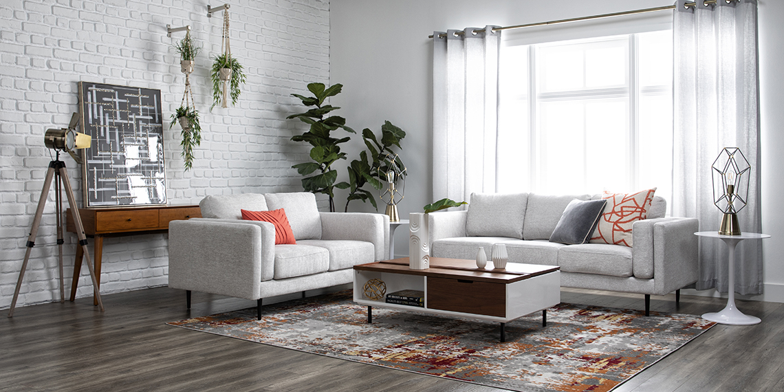 Modern Living Room With Aquarius Ii Light Grey Sofa Living Spaces