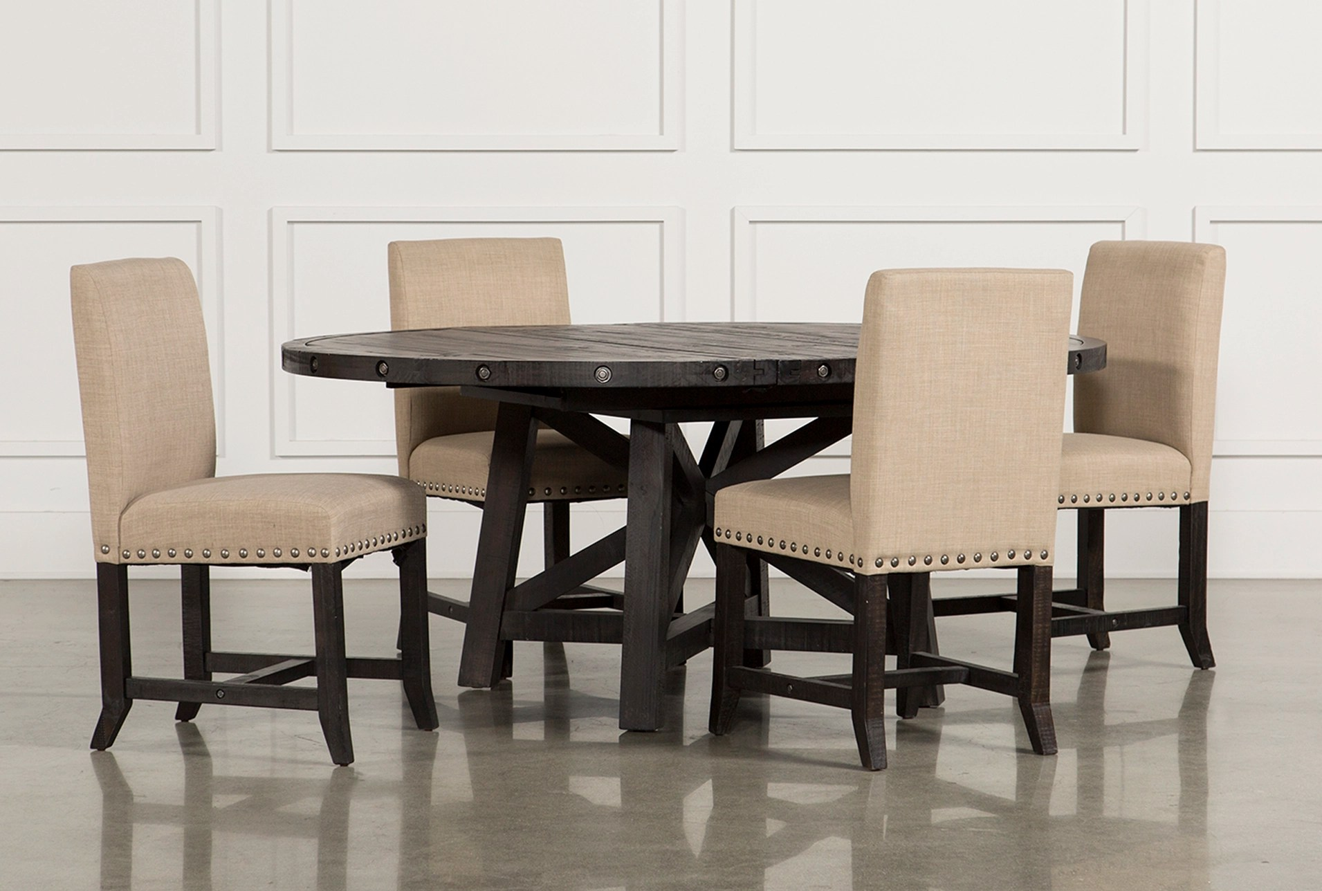 upholstered chairs for dining room bar table with jaxon 5 piece round set w living spaces qty 1 has been successfully added to your cart