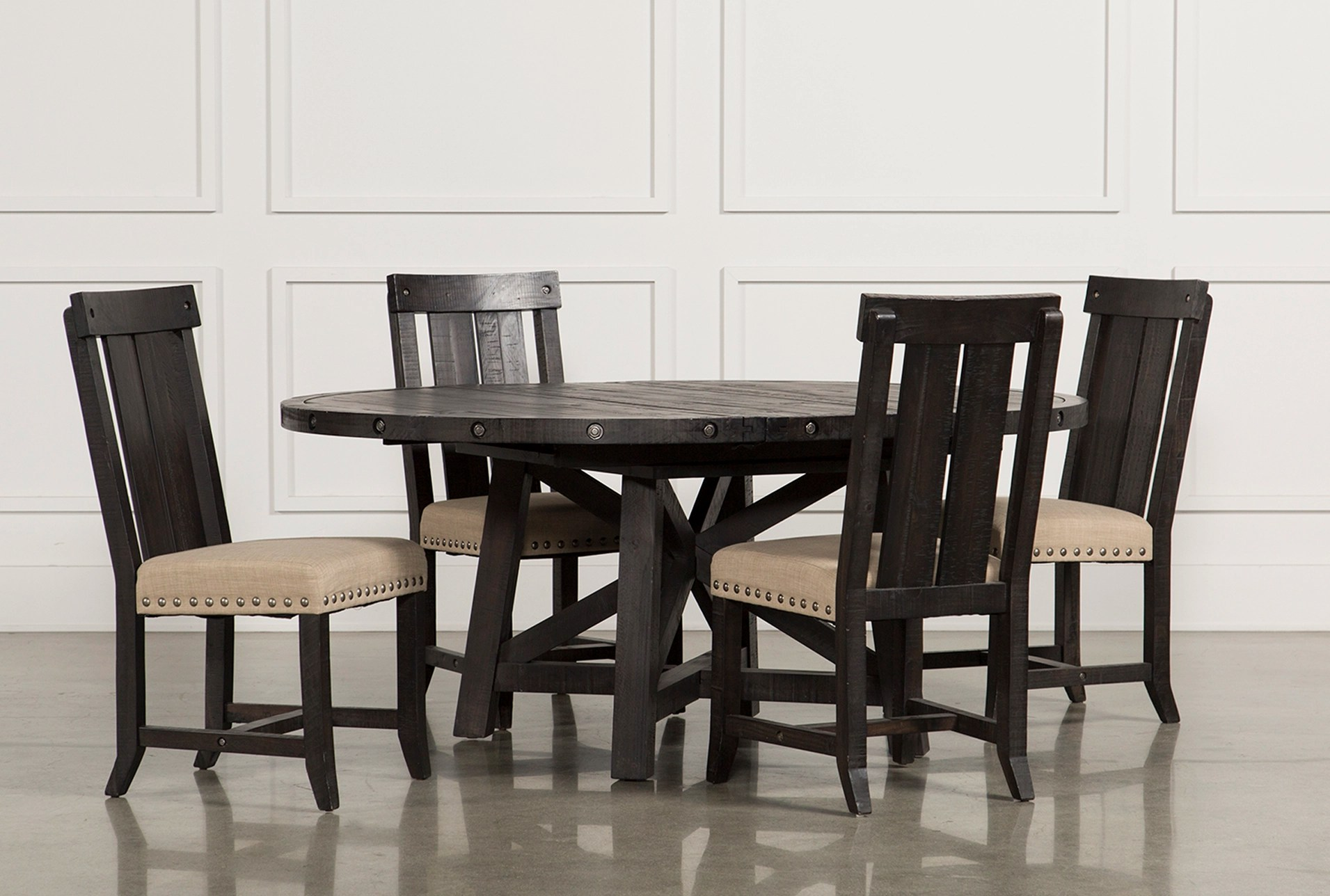 chairs dining table clear for wedding jaxon 5 piece extension round set w wood living spaces qty 1 has been successfully added to your cart