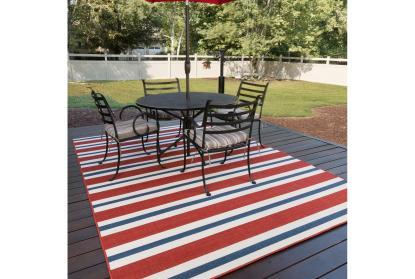 2 3 x7 5 outdoor rug cabana stripes red