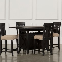 Tables And Chairs Baby Chair Clips Onto Table Dining Living Spaces Jaxon 5 Piece Extension Counter Set W Wood Stools