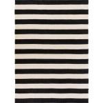 96x132 Outdoor Rug Black White Cabana Stripe