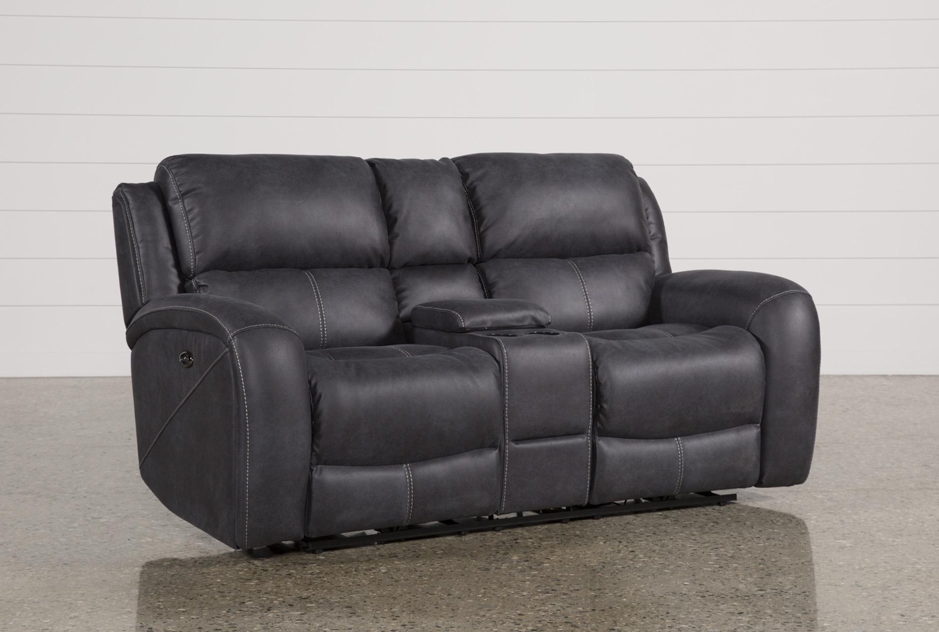 leather sofa bed near me standard sizes australia deegan charcoal power reclining loveseat w console