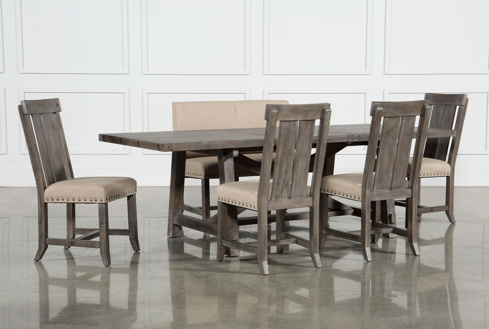 dining set with bench and chairs mat for under high chair room sets living spaces jaxon grey 6 piece rectangle extension w wood