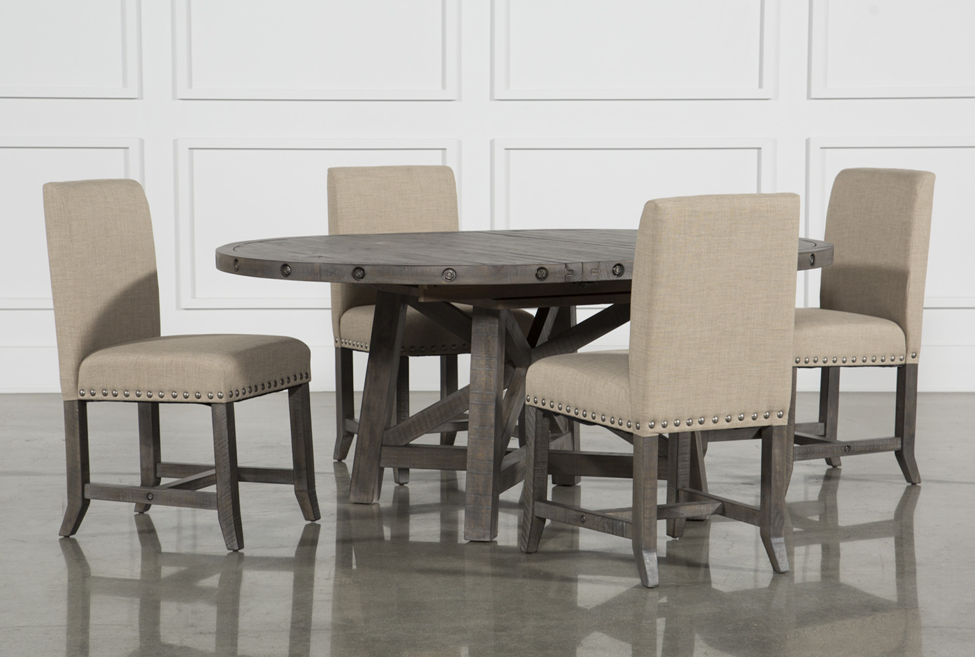 upholstered chairs for dining room cheap metal jaxon grey 5 piece round extension set w 360