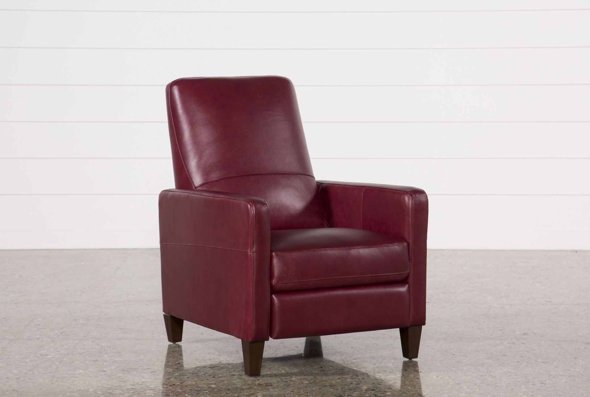 red recliner chairs lucite office chair denny fire leather pressback living spaces