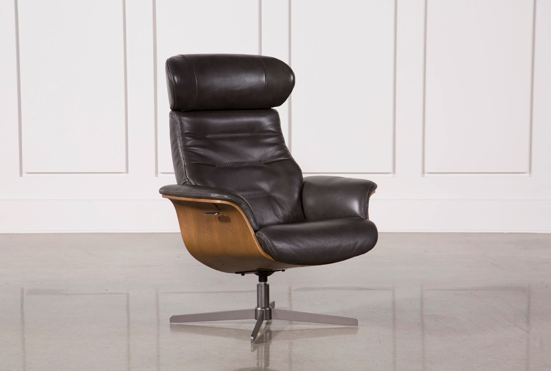 designer chairs for living room rooms to go couches modern spaces amala dark grey leather reclining swivel chair