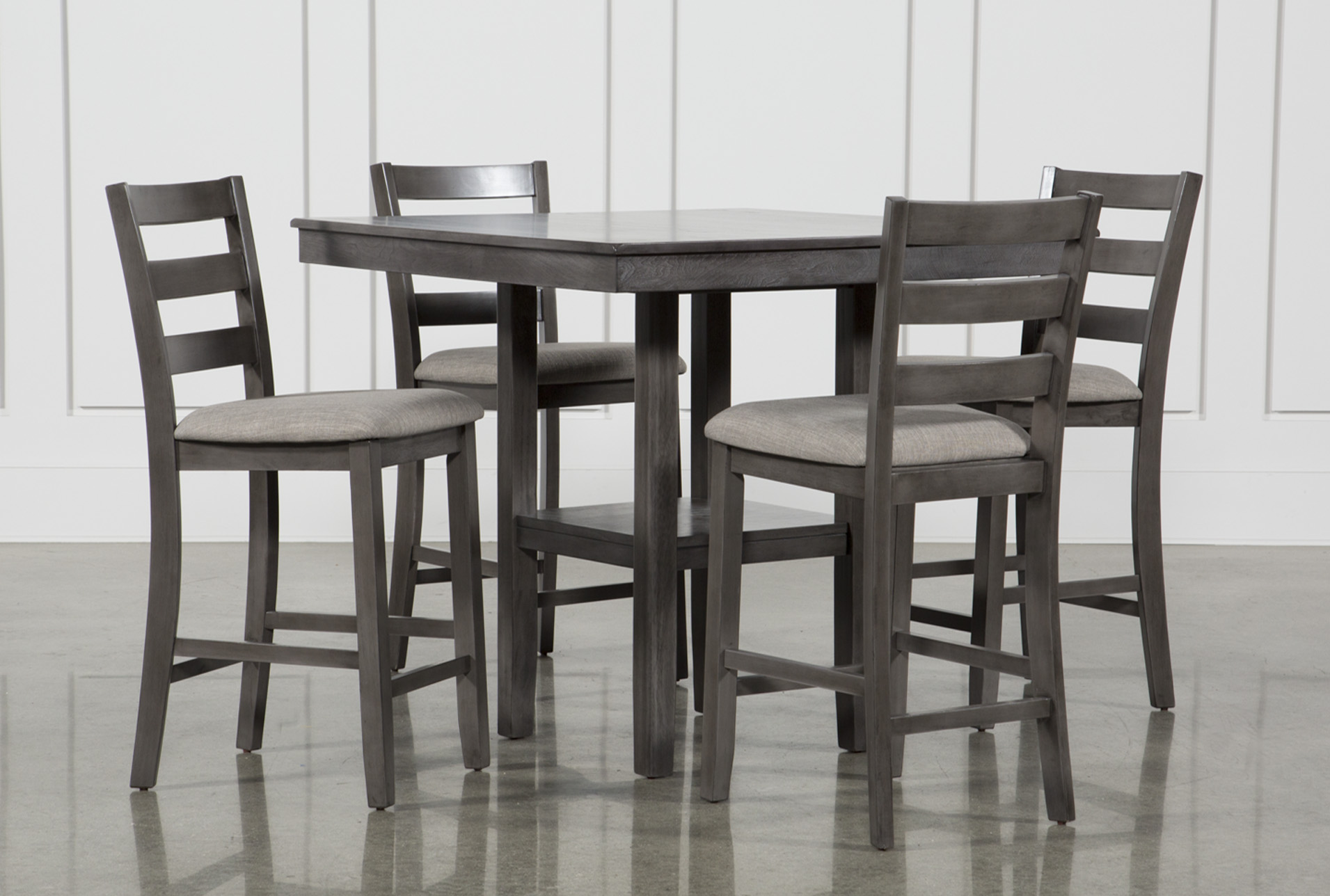 places to borrow tables and chairs upholstered vanity for bathroom dining room furniture collection living spaces jameson grey 5 piece counter set