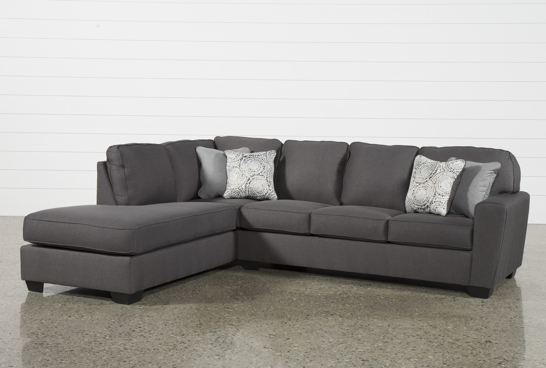 mcdade graphite 2 piece 114 sectional with left arm facing armless chaise