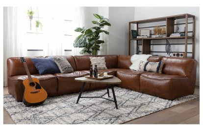 burton leather 3 piece 132 sectional