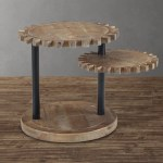 Wood Gear Multi Level End Table Living Spaces