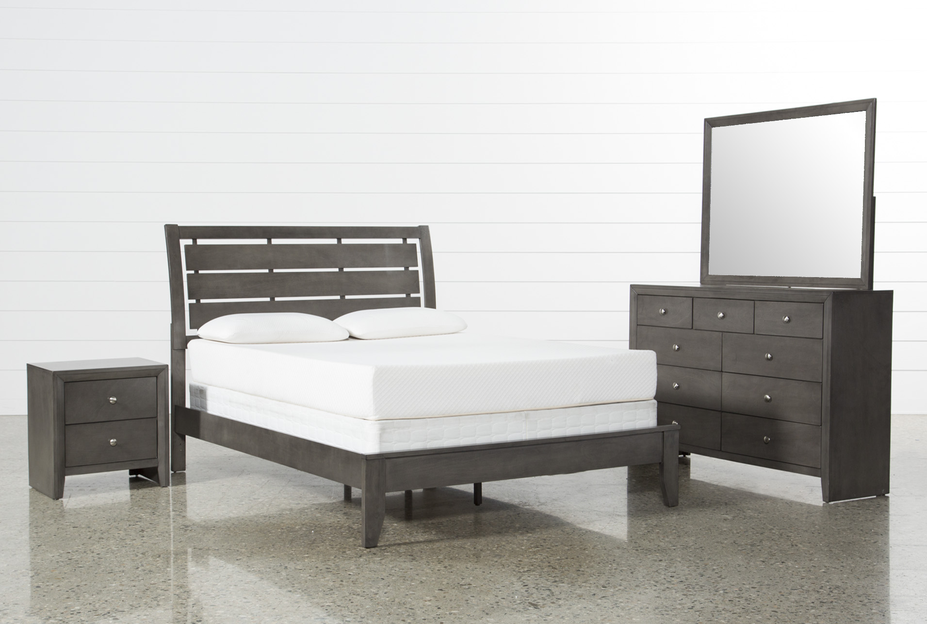 Chad Grey Cal King 4 Piece Bedroom Set Living Spaces