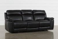 Dino Black Leather Power Reclining Sofa W/Power Headrest ...