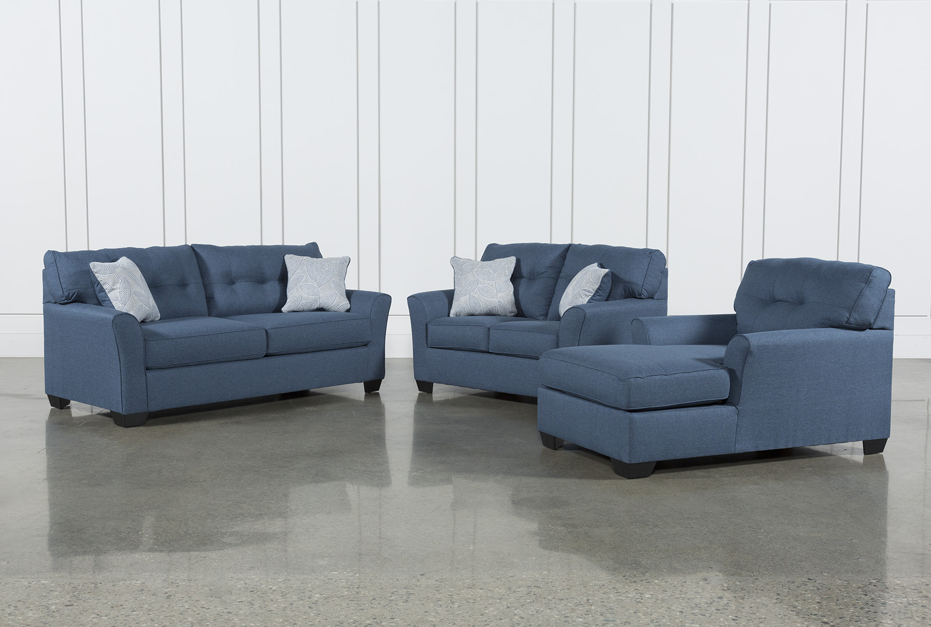 3 piece living room table set ceiling lighting uk sets spaces jacoby denim