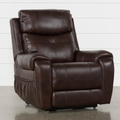 Leather Recliner Chair Rocking Slats Chairs Living Spaces Carl Chocolate Power Lift W Pwr Headrest