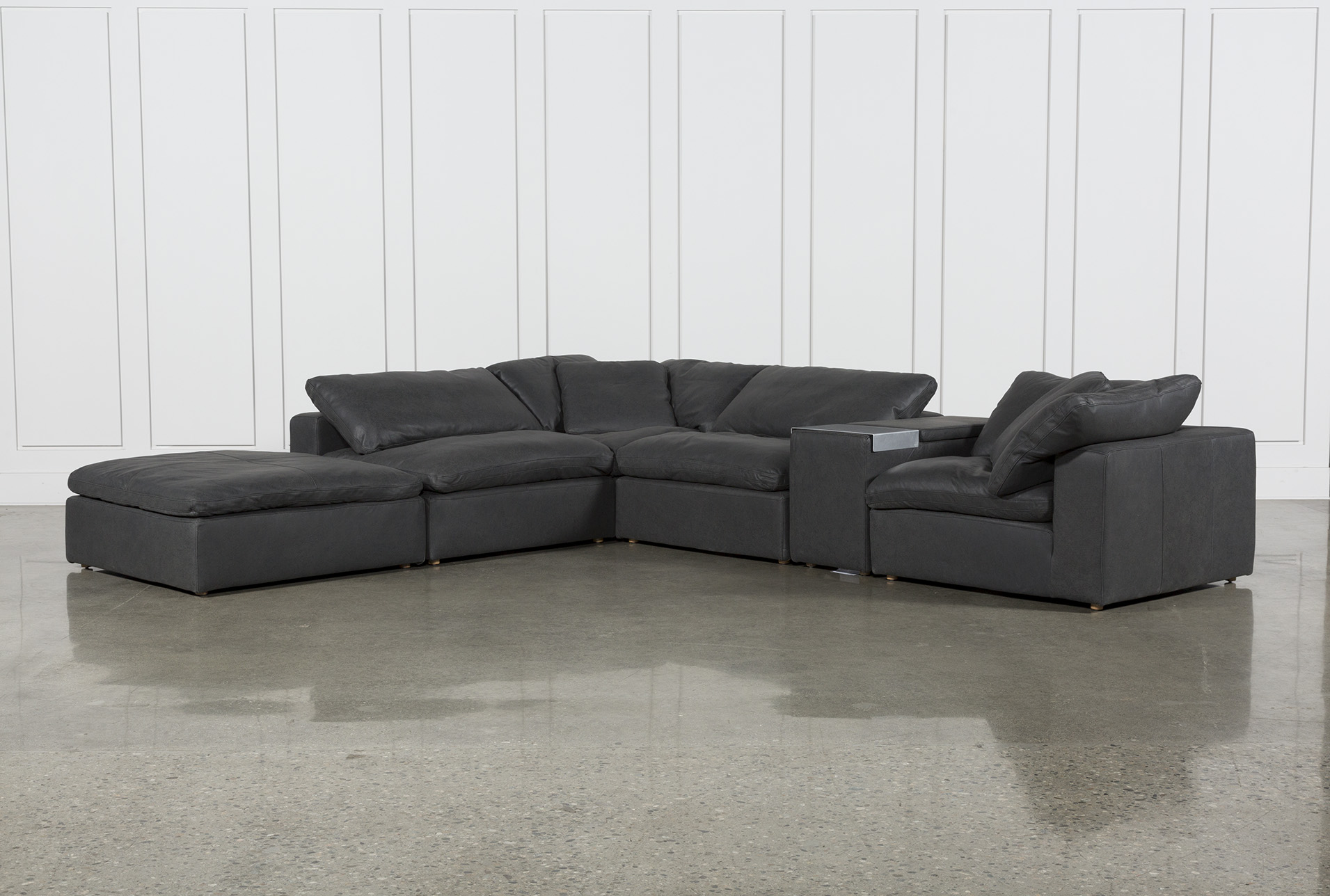 hidden cove grey leather 6 piece sectional with 152 console ottoman