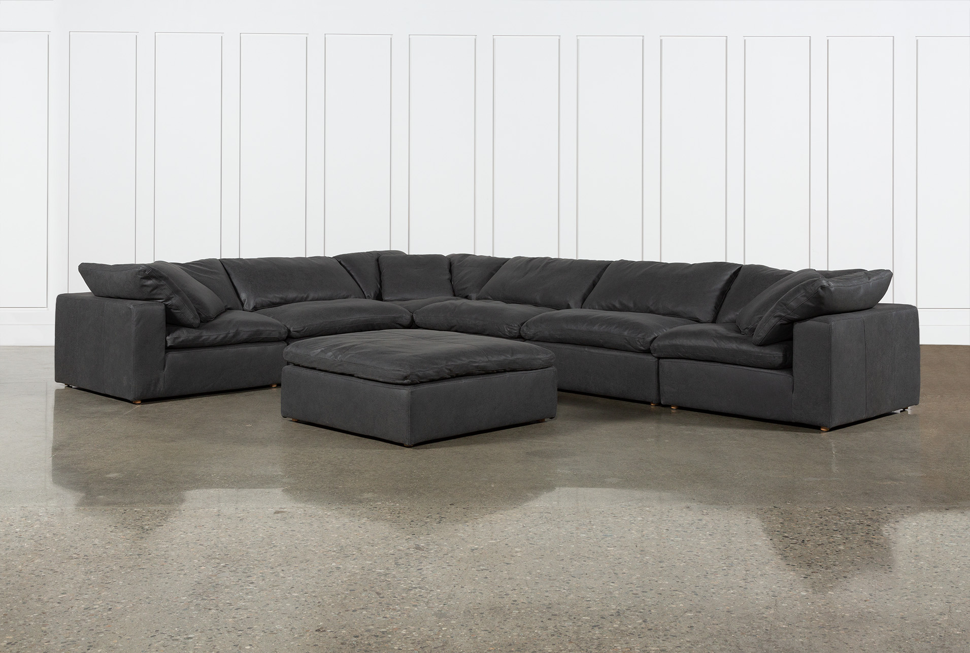 hidden cove grey leather 7 piece 178 sectional with ottoman