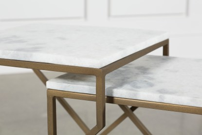 white marble brass nesting accent tables