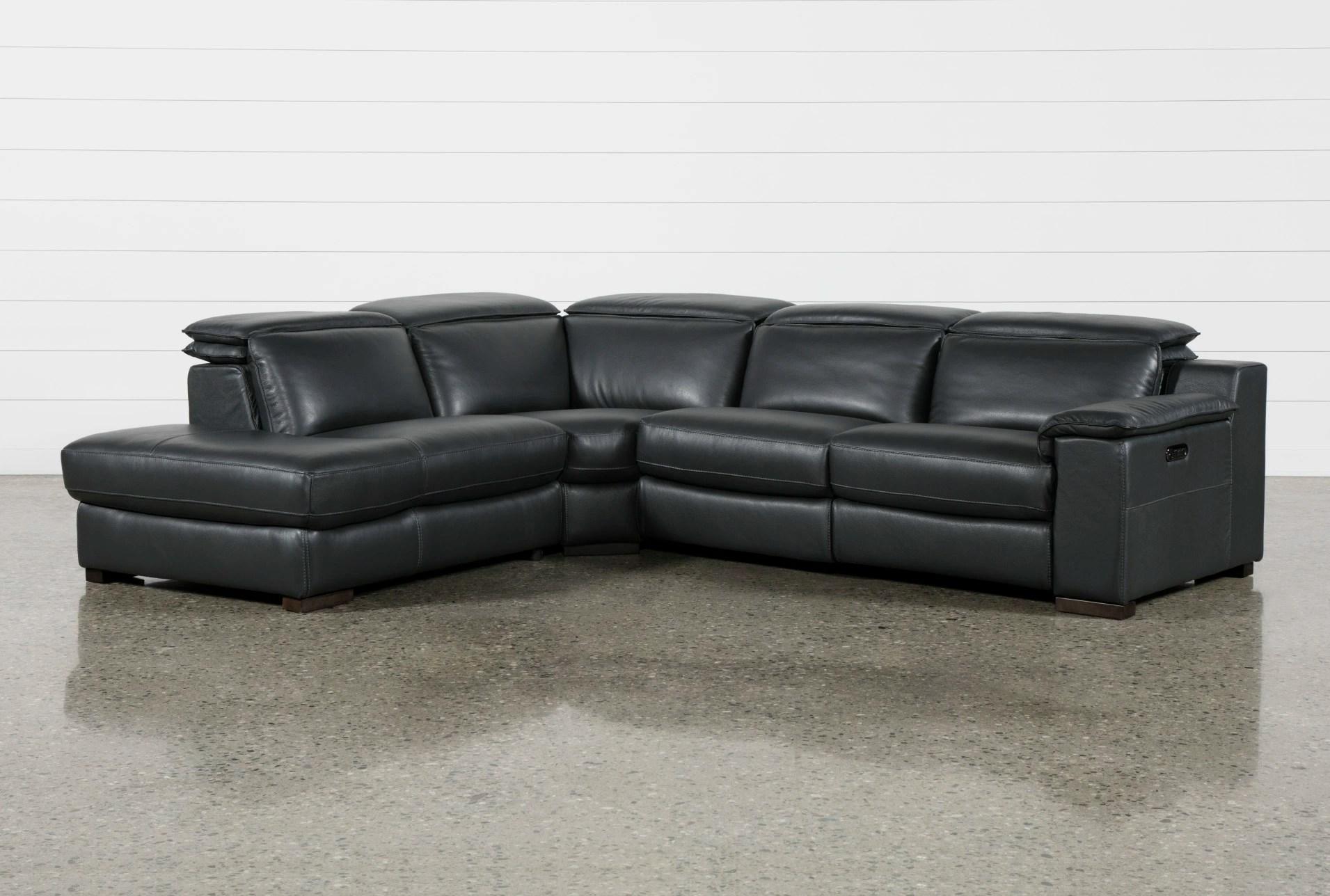 gladiator power dual reclining sofa reviews tall bed sectionals sectional sofas living spaces hana slate leather 3 piece with left facing chaise
