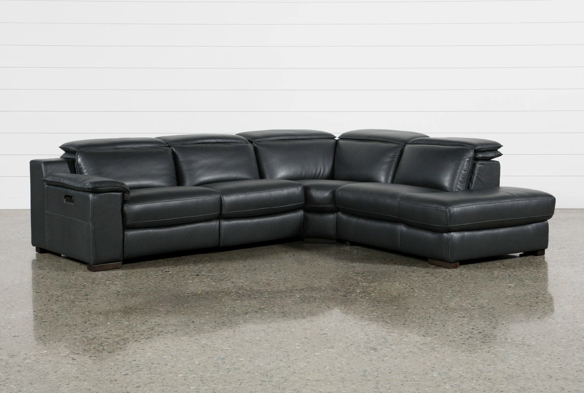 recliner sectional sleeper sofa apartment sofas and loveseats sectionals living spaces hana slate leather 3 piece power reclining with right facing chaise