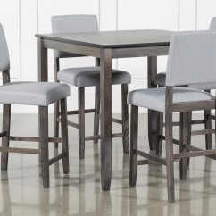 Places To Borrow Tables And Chairs Chair Shoulder Stand Dining Room Furniture Collection Living Spaces Jarrod Grey 5 Piece Counter Set
