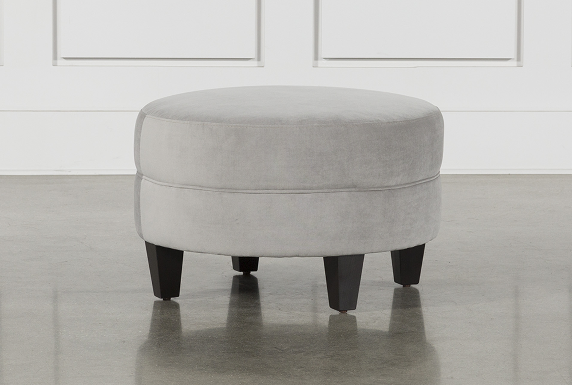 Adler Dove Fabric Small Ottoman Living Spaces