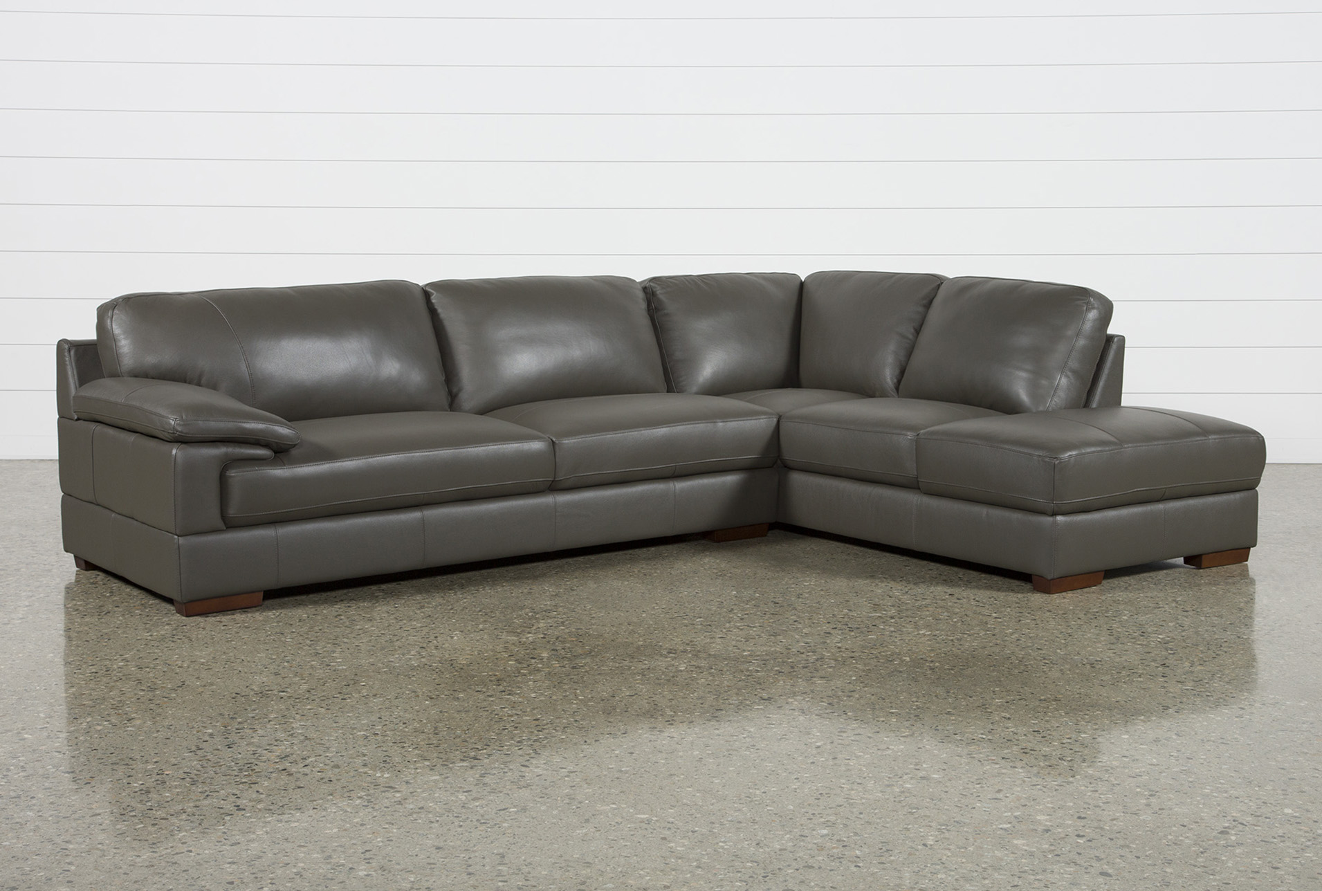 Nico Dark Grey Leather Sectional With Arm Facing