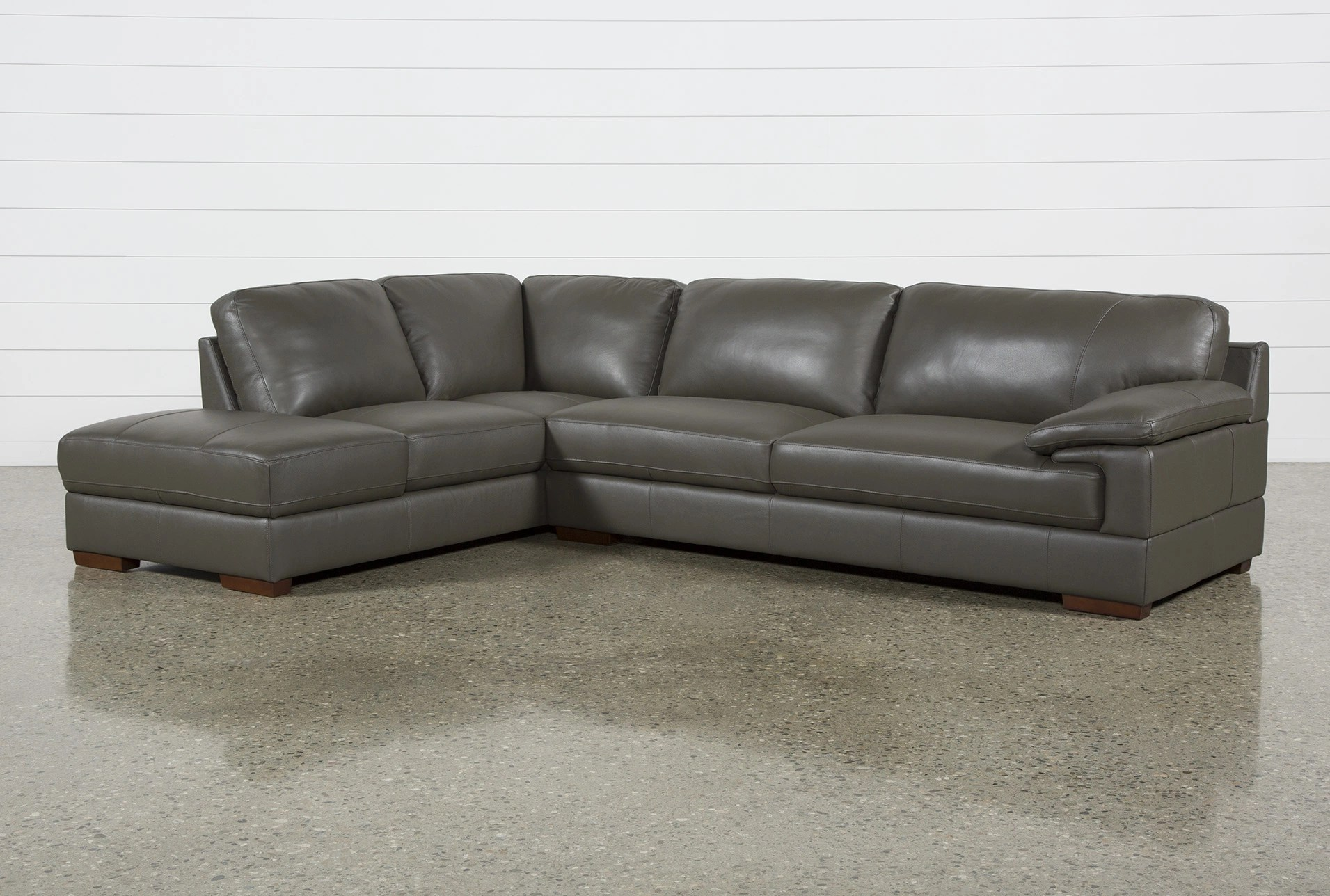 Nico Dark Grey Leather Sectional With Left Arm Facing